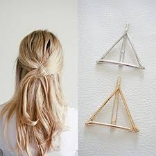 clip hair minimalist dainty gold silver hollow triangle