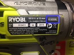 where can i find my ryobi product model on my tool