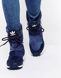 cheap boots for womens size 9 108 size 9 image 1 of adidas originals snowrush navy boots