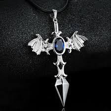 cross skull necklace images Flame fire cool cross cruiser men sword bats skull necklace jpg