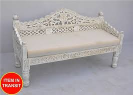 french indian carved daybed mattress balinese day bed white wash