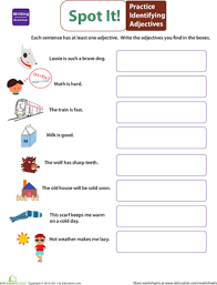 get into grammar identify adjectives worksheet education com