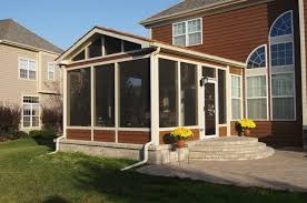 Screened In Patio Designs Columbus Screen Porch With Paver Patio And Rounded Stairs For