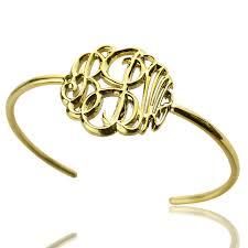 monogram bangle bracelet 18k gold plated monogram bangle bracelet painted