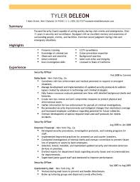 Sample Resume For Correctional Officer Security Guard Resume No Experience Objective Corpedo Com