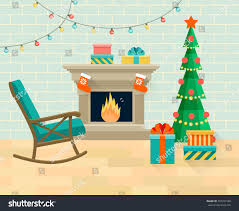 Holiday Living Room Clipart Living Room Rocking Chair Christmas Tree Stock Vector 503341588