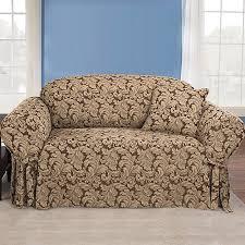 sofa cover sure fit scroll brown sofa slipcover walmart