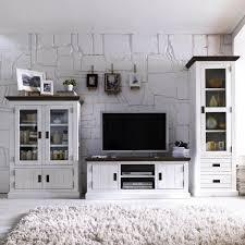 Wohnzimmerschrank Lack Vitrine Vitrinenschrank Gomara Holz Akazie Antik Weiß Braun
