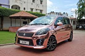 rose gold range rover maruti suzuki ertiga modified kitup rose gold wrap rear front