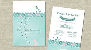 mermaid themed baby shower mermaid themed baby shower invitation or birth announcement