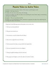 passive voice to active voice subject predicate worksheets