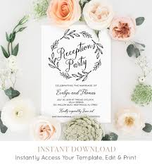reception party invitation template wedding reception printable
