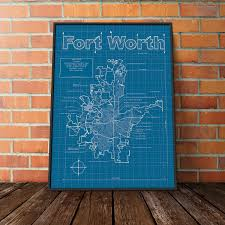 Fort Worth Texas Map Fort Worth Texas Map Blueprint Style Modern Graphic Design And
