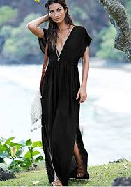 plunging neckline black plain tassel plunging neckline sleeve maxi dress