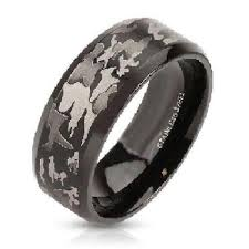 his and camo wedding rings his hers 4 cz black stainless steel black camouflage