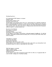 Resume Samples For Cooks by Sushi Chef Cover Letter