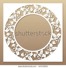 photo frame cards openwork white frame leaves laser cutting stock vector 447145534