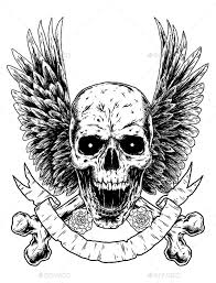 skull crossbones with wings by svperkidz graphicriver