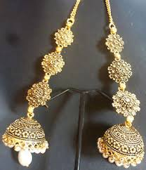 jhumka earrings with chain indian antique gold plated cz kundan polki wedding earrings jhumka