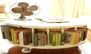 Cable Reel Chair Articles With Round Wooden Shelves Tag Chic Round Book Shelf Home
