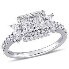 square diamonds rings images 14k white gold 0 94ctw four square diamond engagement ring jpg