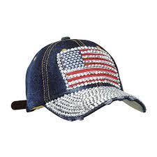 American Flag Visor Dark Washed Denim Usa Studded Baseball Hat Adjustable American