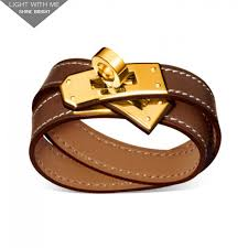 gold clasp leather bracelet images Hermes kelly double tour brown leather bracelet with gold plated jpg