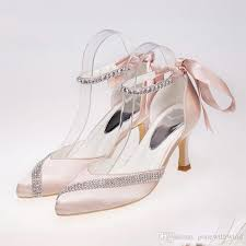 Comfortable High Heels For Wedding White Pumps Crystal Satin Heels Peep Toe Pumps Ivory White Women