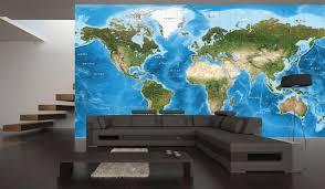 detailed world satellite image map light blue oceans world satellite image wall map mural in room