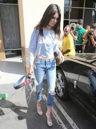 light blue off the shoulder top kendall jenner blue jeans off the shoulder top fashion bomb daily