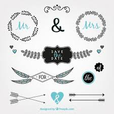 ornamental objects for wedding vector free