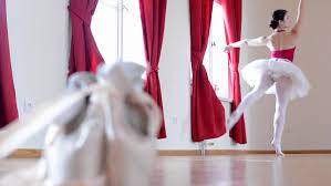 Curtain Dancing Detail Ballet Shoes Ballerina Dancing In The Background