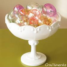 craftiments easter egg ornaments displayed in a milk glass bowl