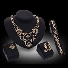 ring bracelet necklace images Women jewelry sets luxury new fancy gold fashion crystal heart jpg