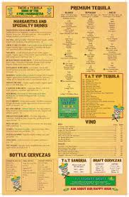 menu tacos u0026 tequila cantina