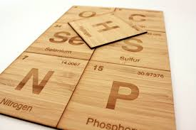 periodic table non metals coasters set of 7 in bamboo