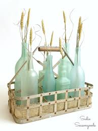 coastal centerpieces coastal summer decor using a vintage aqua jar sand