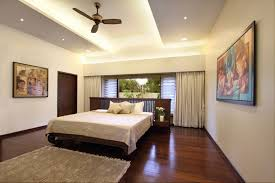 stylish ceiling fans for cool bedroom decorating with recessed lighting and white curtains