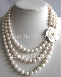 white shell pearl necklace images Handmade stylish 3 rows 7 8mm freshwater white pearl necklace jpg
