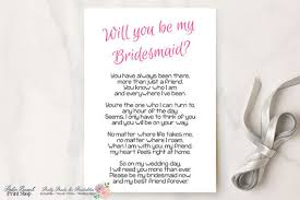 will you be my bridesmaid invitation will you be my bridesmaid printable poem bridesmaid