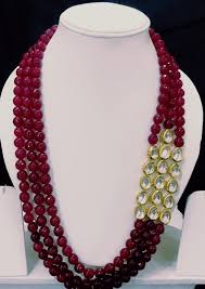 pearl ruby necklace images Unique multi layer kundan with ruby pearl necklace set jpg