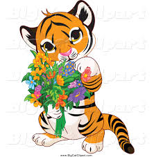 big cat vector clipart of a baby tiger holding flowers