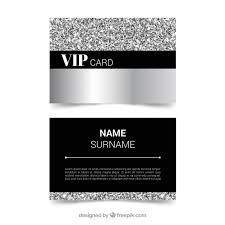 vip card template with silver style vector free download