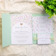 green wedding invitations affordable mint green polka dot pocket wedding invitations ewpi117