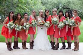 bryant wedding dresses bright coral bridesmaid dresses with cowboy boots lahra bryant