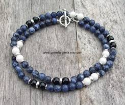 beaded jewelry necklace images Mens beaded necklace blue sodalite white jade and black onyx jpg