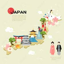 My Travel Map Beautiful Japan Travel Map In Flat Style Royalty Free Cliparts