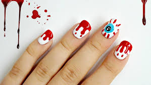 dripping blood and red eye halloween nails youtube