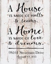 custom home sign a home love and dreams address date wood sign