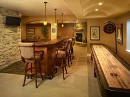 yellow accents wall painted of enchanting home basement bar ideas